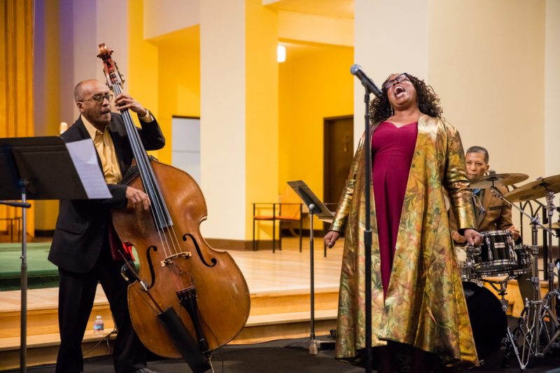 Dianne Reeves, with bassist James King and drummer Nasar Abadey, performs at a D.C. church as part of International Jazz Day 2016