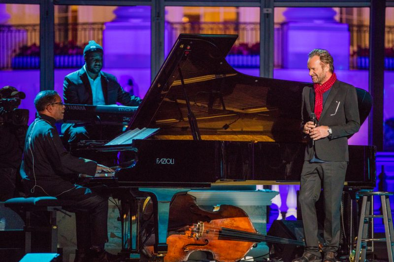 Sting, Herbie Hancock and Robert Glasper (at back) perform in the International Jazz Day Global Concert at the White House; April 29, 2016
