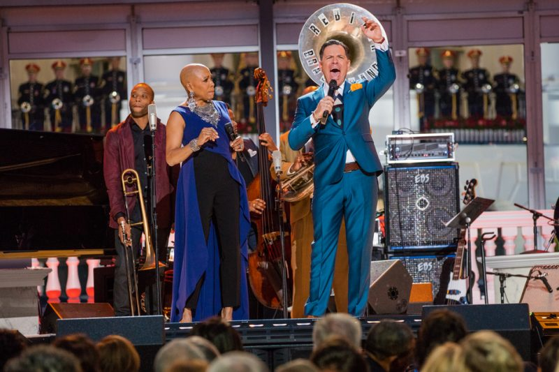 Dee Dee Bridgewater and Kurt Elling (with Trombone Shorty at back) perform in the International Jazz Day Global Concert at the White House; April 29, 2016