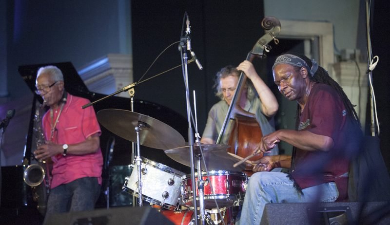 Kidd Jordan, Michael Bisio and Hamid Drake (from left) perform at Vision Festival 21; New York's Judson Memorial Church, June 9, 2016