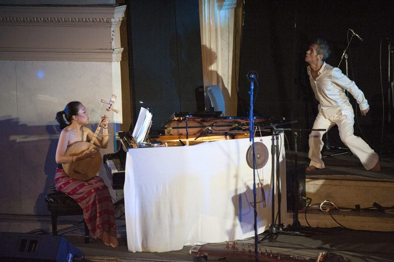 "Jen Shyu, with dancer-collaborator Satoshi Haga, performs her ""Song of Silver Geese"" at Vision Festival 21; New York's Judson Memorial Church, June 8, 2016"