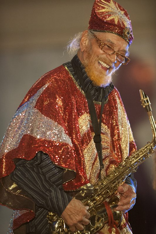 Marshall Allen, leader of the Sun Ra Arkestra, at Vision Festival 21; New York's Judson Memorial Church, June 8, 2016