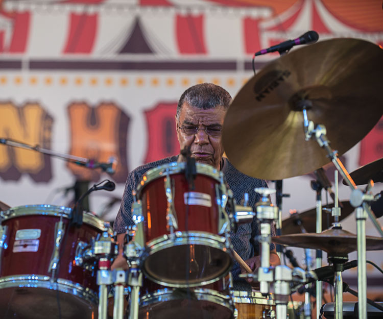 Jack DeJohnette performs at Funhouse Fest, curated by Bruce Hornsby, in Williamsburg, Virginia in June 2016