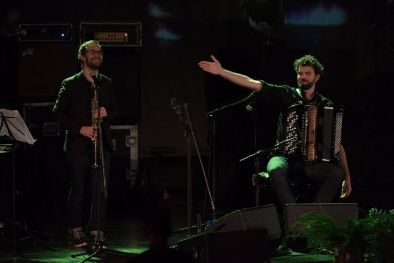Émile Parisien (left) and Vincent Peirani perform at the 2016 Rīgas Ritmi Festival