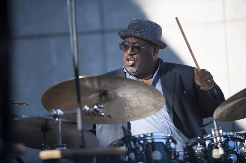 Carl Allen performs in the Stanley Cowell Quintet at the 2016 Detroit Jazz Festival