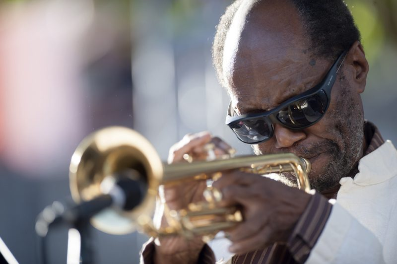 Charles Tolliver performs with the Stanley Cowell Quintet at the 2016 Detroit Jazz Festival