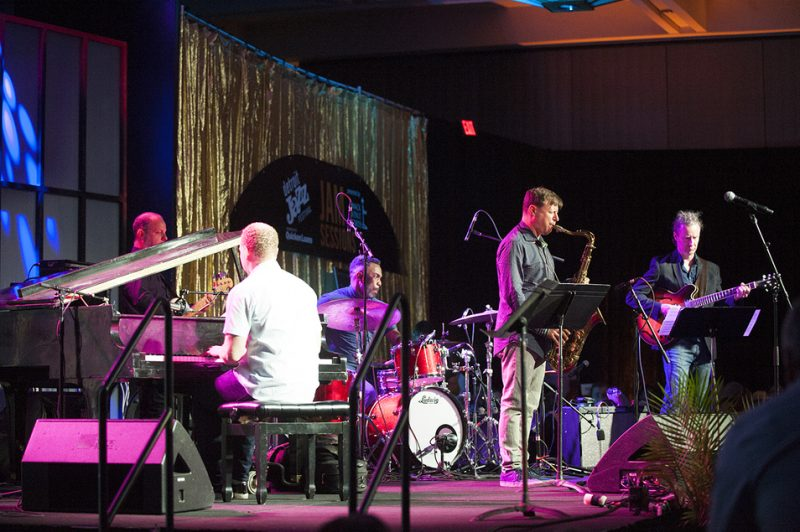 The Chris Potter Underground Quintet plays a late-night jam-session gig at the 2016 Detroit Jazz Festival. From left: Fima Ephron, Craig Taborn, Nate Smith, Potter and Adam Rogers