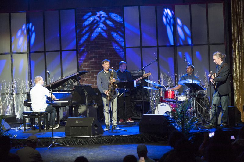 The Chris Potter Underground Quintet plays a late-night jam-session gig at the 2016 Detroit Jazz Festival. From left: Craig Taborn, Potter, Fima Ephron, Nate Smith and Adam Rogers