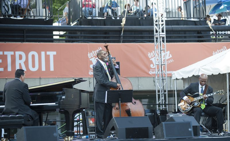 From left: Donald Vega, Ron Carter and Russell Malone perform at the 2016 Detroit Jazz Festival