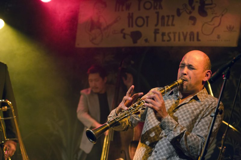 """Evan Christopher performs """"Pops for President"""" with Wycliffe Gordon & Friends on the Heath Stage at the 2016 New York Hot Jazz Festival"""