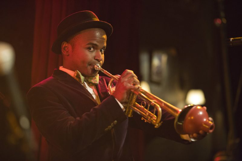 Alphonso Horne performs during the Ella & Louis Verve Duets 60th Anniversary Tribute with Michael Mwenso on the Heath Stage at the 2016 New York Hot Jazz Festival