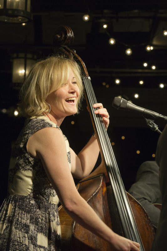 Nicki Parrott performs with the Frank Vignola Trio on the Gallow Green Stage at the 2016 New York Hot Jazz Festival
