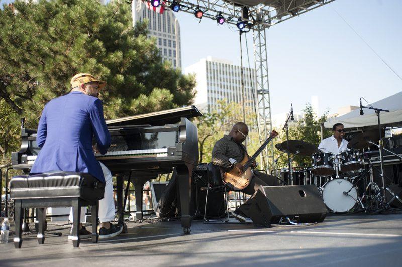 The Jason Moran Bandwagon Trio performs at the 2016 Jazz Festival