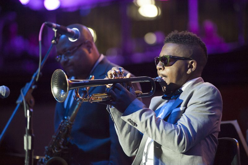 Roy Hargrove, backed by his quintet and a string orchestra, performs at the 2016 Detroit Jazz Festival