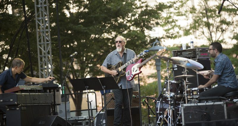 From left: Brad Mehldau, John Scofield and Mark Guiliana perform at the 2016 Detroit Jazz Festival