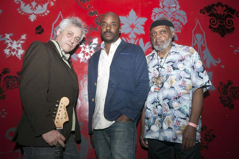 """""""[Ayler] created a kind of ritual process for musicians to undergo and [for] audiences to participate in,"""" says guitarist Marc Ribot, seen here with trio-mates Chad Taylor and Henry Grimes (right), an alum of Ayler's mid-'60s groups"""