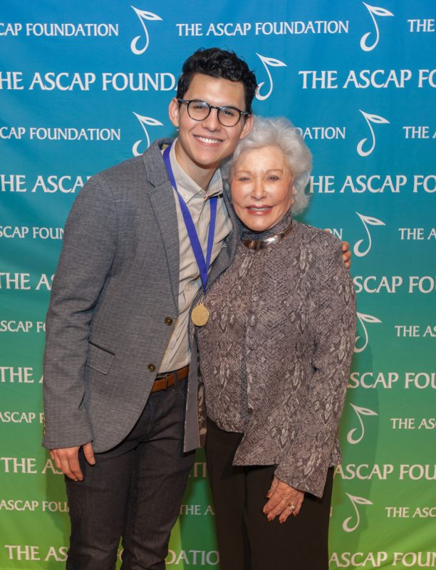 Caleb Collins (The Eunice and Hal David Merit Award Winner) with Eunice David at the 2016 ASCAP Foundation Honors