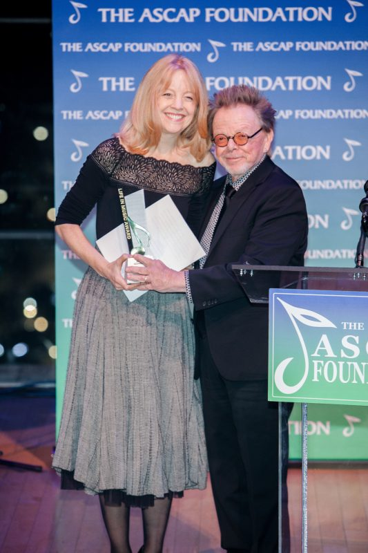 Maria Schneider receives the ASCAP Foundation's Life in Music Award from ASCAP President Paul Williams at the 2016 ASCAP Foundation Honors