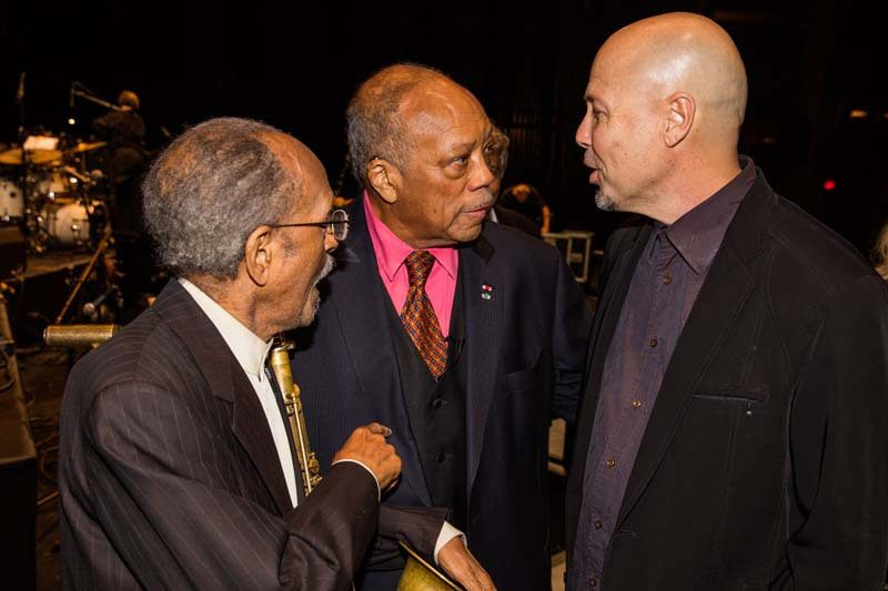 In Los Angeles last year, Beasley, Quincy Jones (center) and Jimmy Heath hang after the Thelonious Monk Institute's gala concert