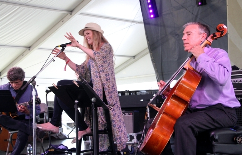 "Singer Tierney Sutton performed her ""After Blue"" Joni Mitchell project with the subtle accompaniment of guitarist Serge Merlaud and cellist Mark Summer at the 2016 Newport Jazz Festival"