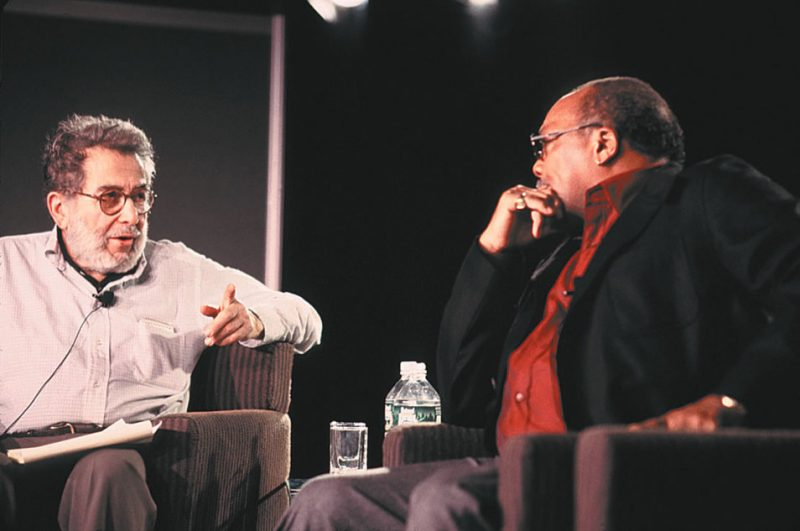 """Nat Hentoff (left) interviews Quincy Jones during the 2001 IAJE """"Jazz on the Frontline"""" panel session"""