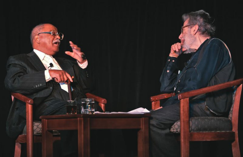 Trumpeter Clark Terry, left, tells columnist Nat Hentoff about his distinguished career of more than 60 years. Terry is also this year's recipient of the IAJE Presidents Award.