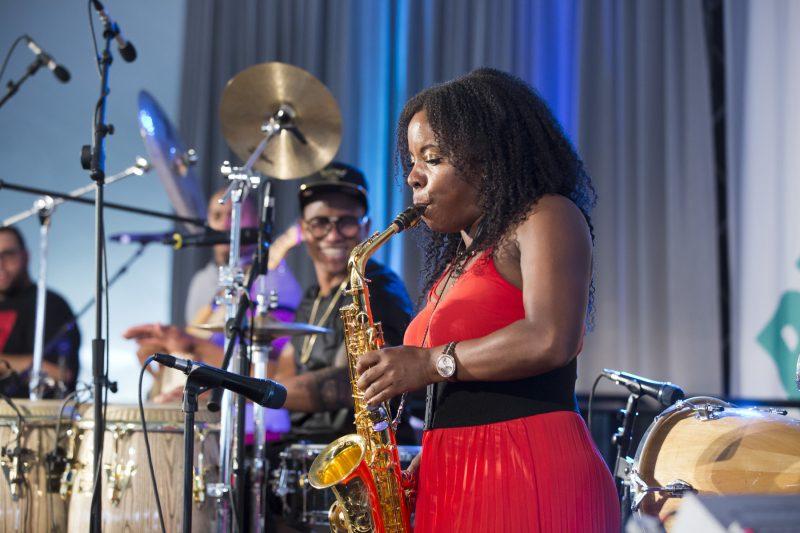 Pedrito Martinez and Tia Fuller at the Princeton University Jazz Festival