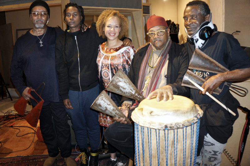 In the studio, 2018 (L to R): Enoch Willamson, Moor Mother, Christina Wheeler, Famoudou Don Moye, and Titos Sompa.